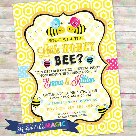 Bumble Bee Invite Gender Reveal Invitation By DreamlikeMagic