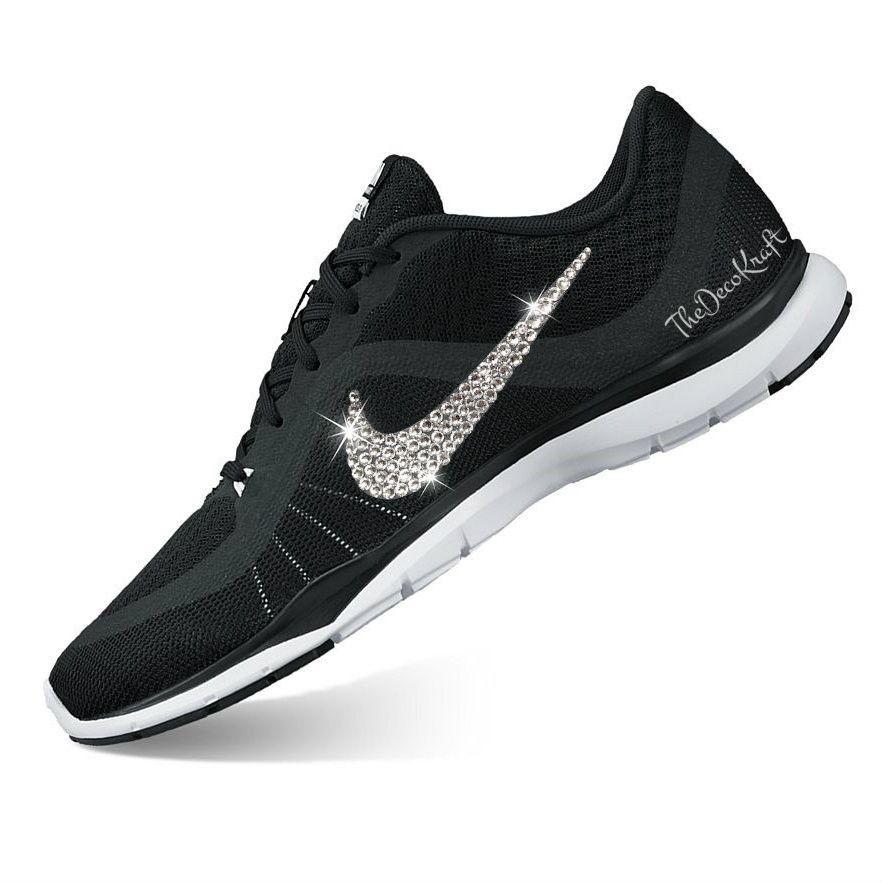 Womens Nike Flex Trainer 6 Black White Custom Bling Crystal Swarovski  Sneakers 0b5862226727