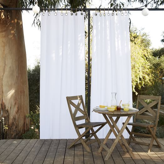Solid Outdoor Curtain White Urban Backyards Outdoor Spaces