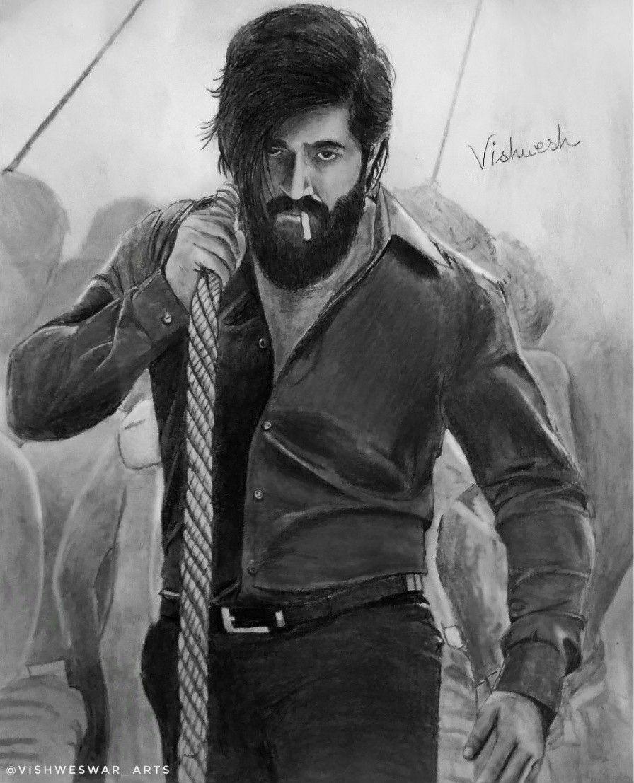 Yash Kgf Drawing Kgf2 Kgf Chapter 2 Vishweswar Arts Beard Images Portrait Cartoon Wallpaper Hd