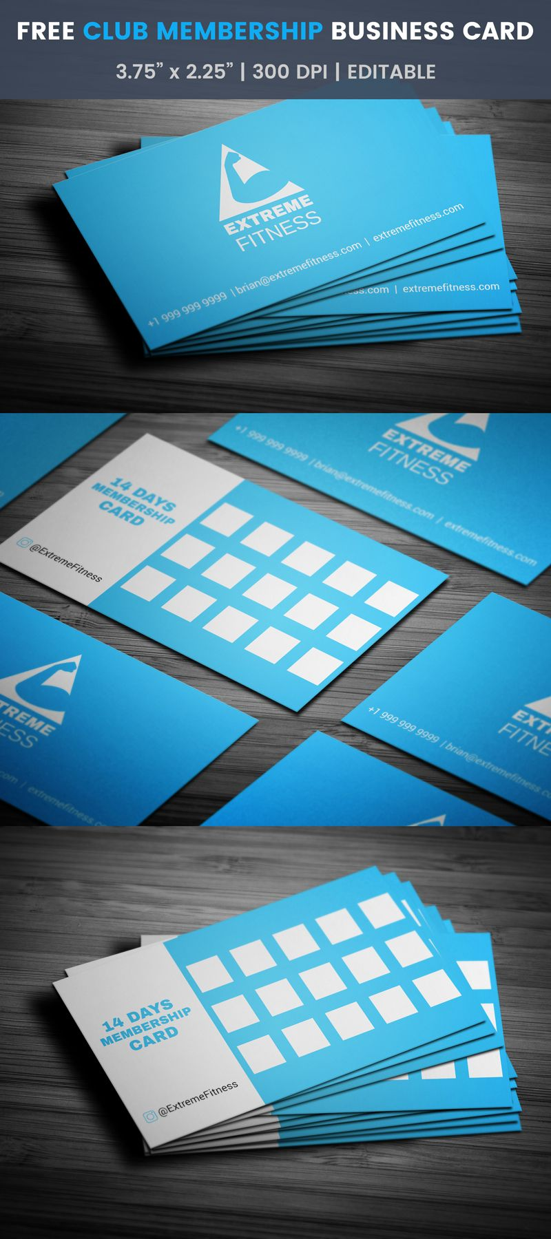 Membership Cards Templates Fitness Club 14Day Membership Business Card #workout #club  Визики .