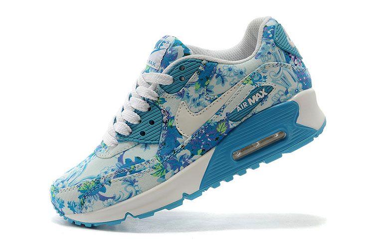 nike air max 90 floral blue