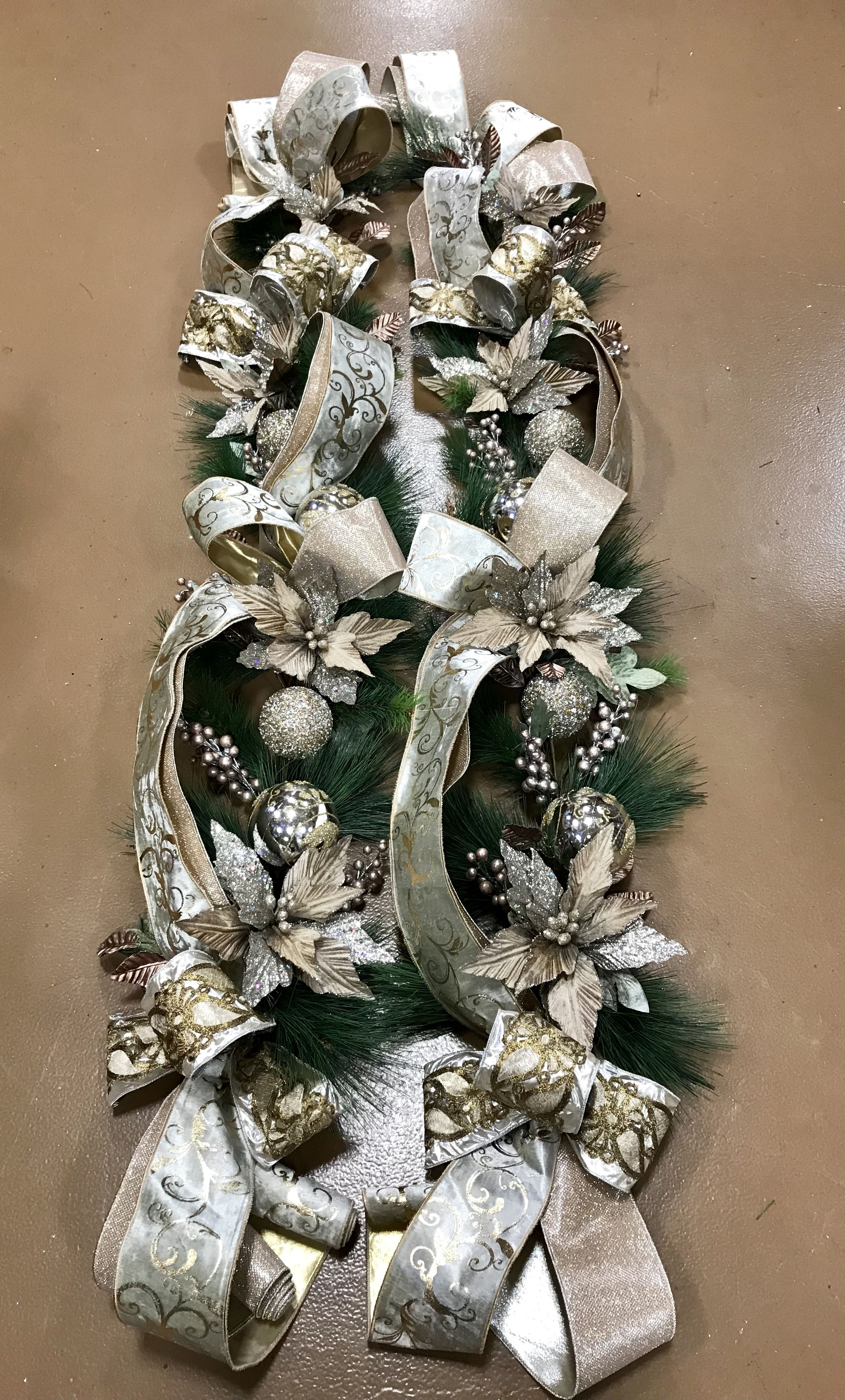 Champagne Christmas Garland Designed By Arcadia Floral And Home