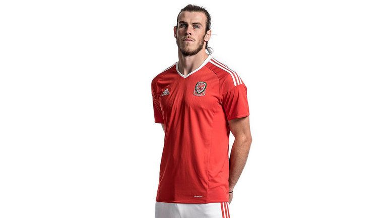 Gareth Bale models Wales' kit for Euro 2016, sponsored by adidas.