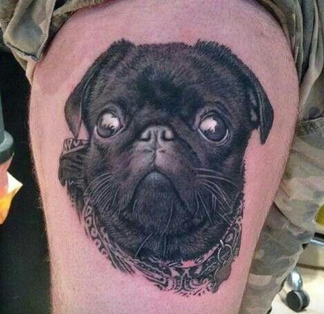 Realistic Pug Tattoo Pug Tattoo Dog Tattoos Dog Tattoo