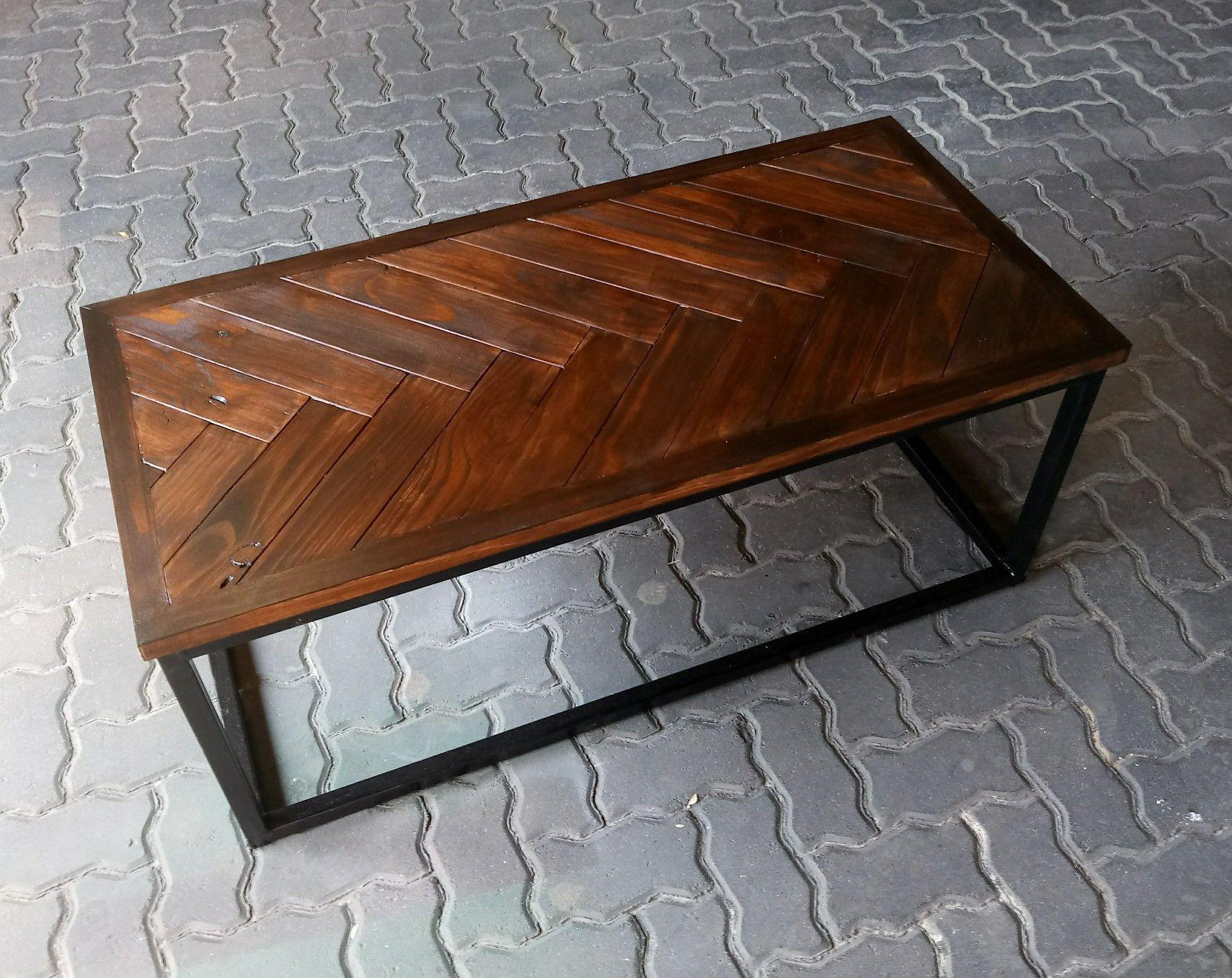 Herringbone Coffee Table Industrial Style Coffee Table Wood Coffee Table Rustic Coffee Table Wood