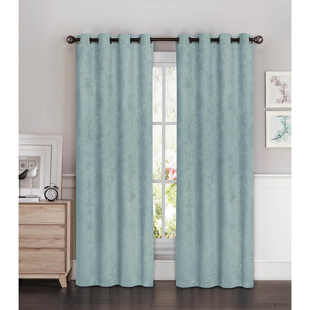 Bella Luna Blackout Faux Suede 54 In W X 84 L Room Darkening Grommet Extra Wide Curtain Panel Aqua Ymc002467 The Home Depot
