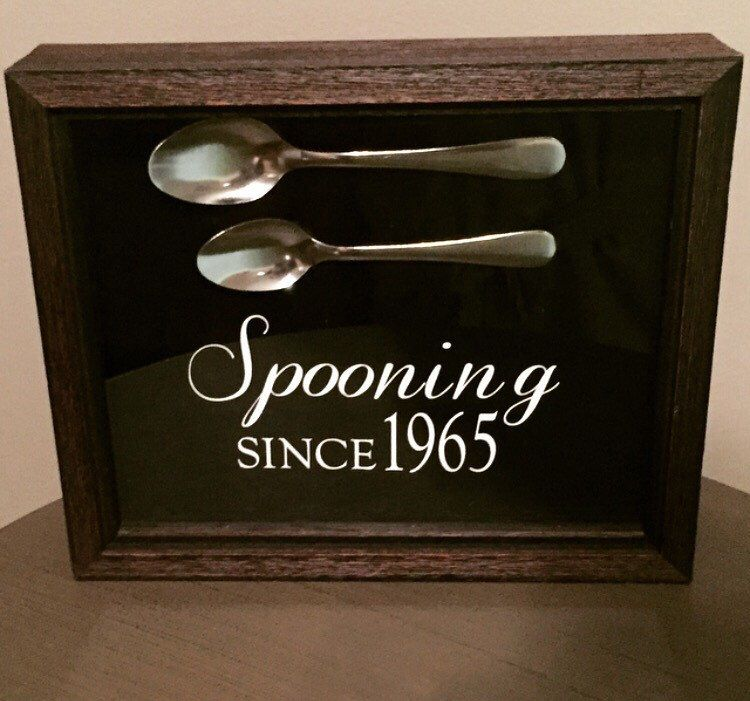 A personal favorite from my Etsy shop https://www.etsy.com/listing/234981604/spooning-since-shadow-box