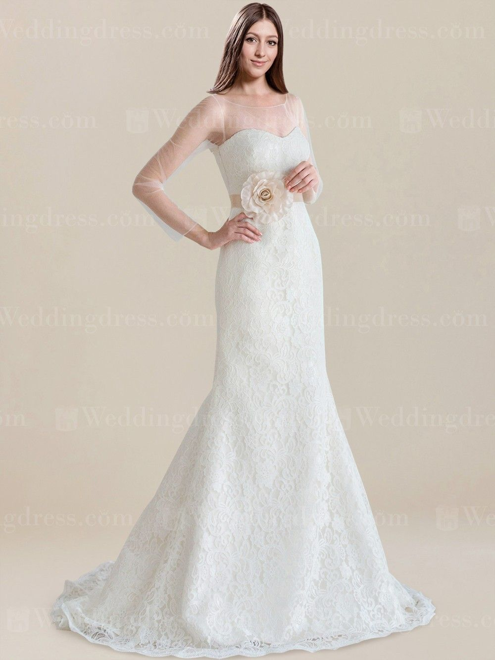 Lace wedding dress with long sleeves sv lace design and do you