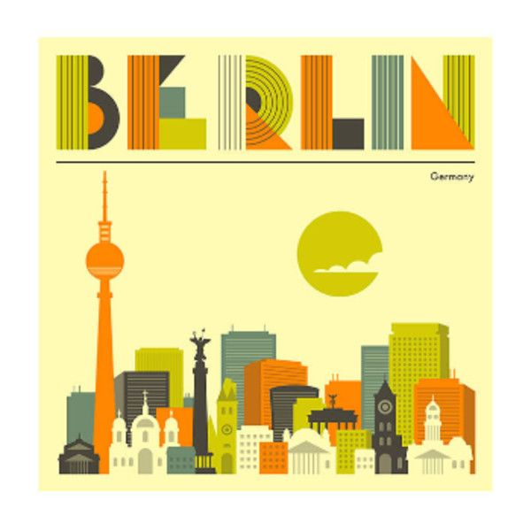Berlin Cityscape A1 Framed Print ($155) ❤ liked on Polyvore ...