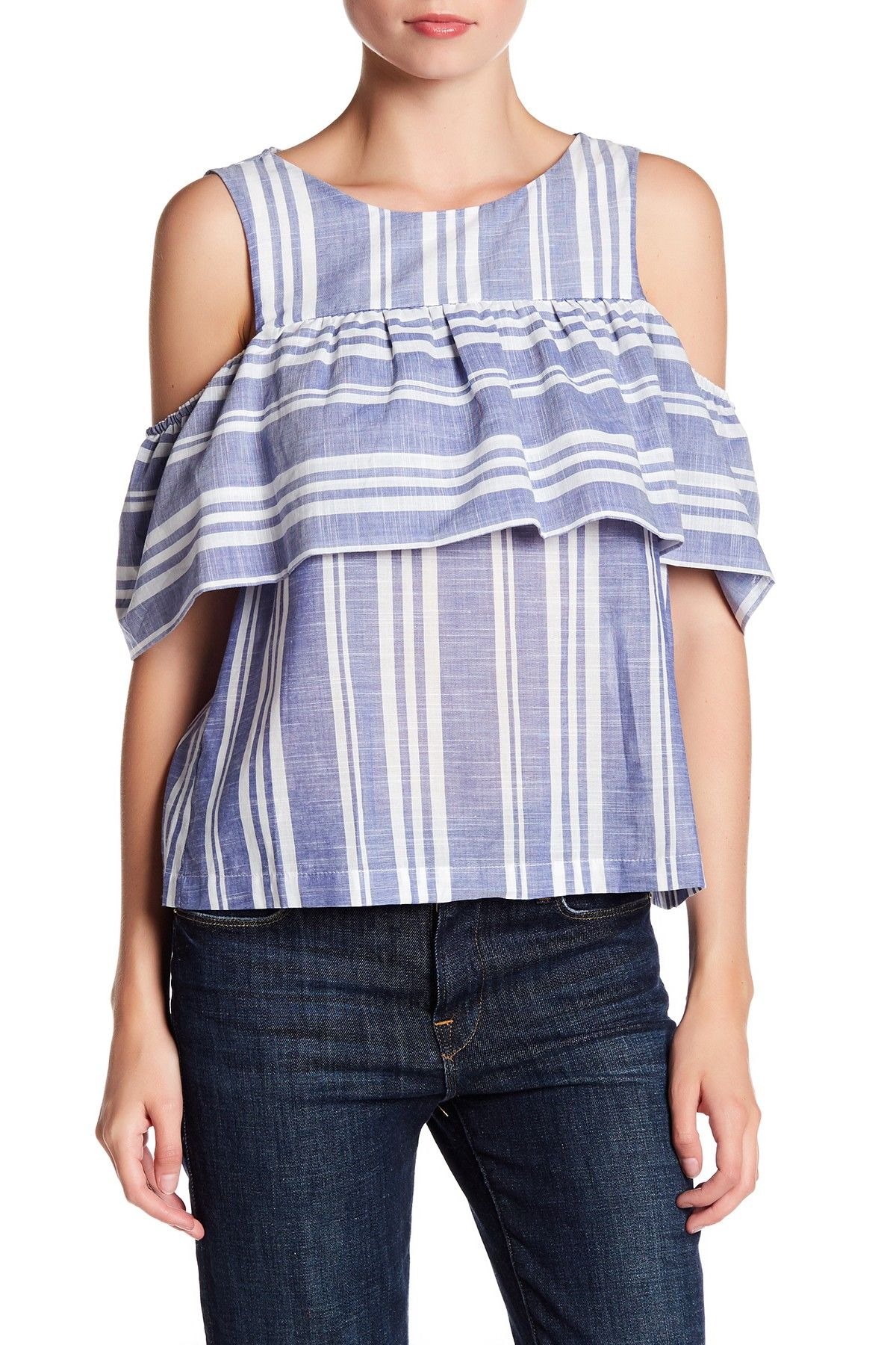 Cold Shoulder Flounce Blouse by Lush on @nordstrom_rack