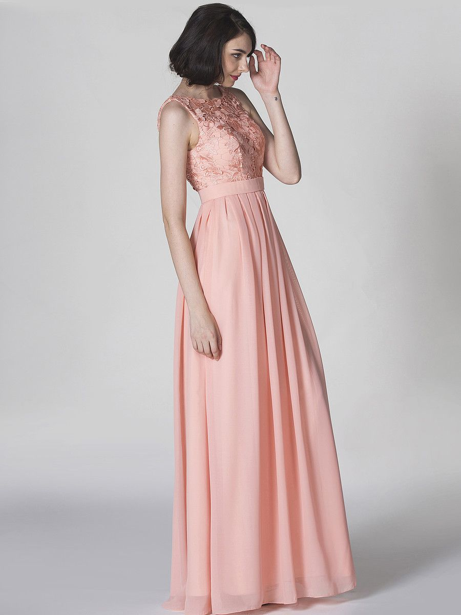 Lace and Chiffon U-Back Dress; Color: Apricot Blush; Fabric: Chiffon ...