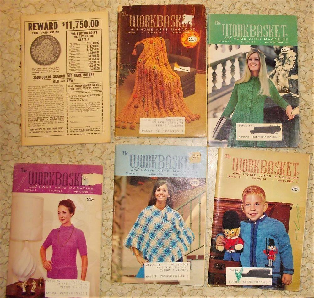 6 vintage Workbasket magazine 1968-9 knit crochet sweater afghan ...