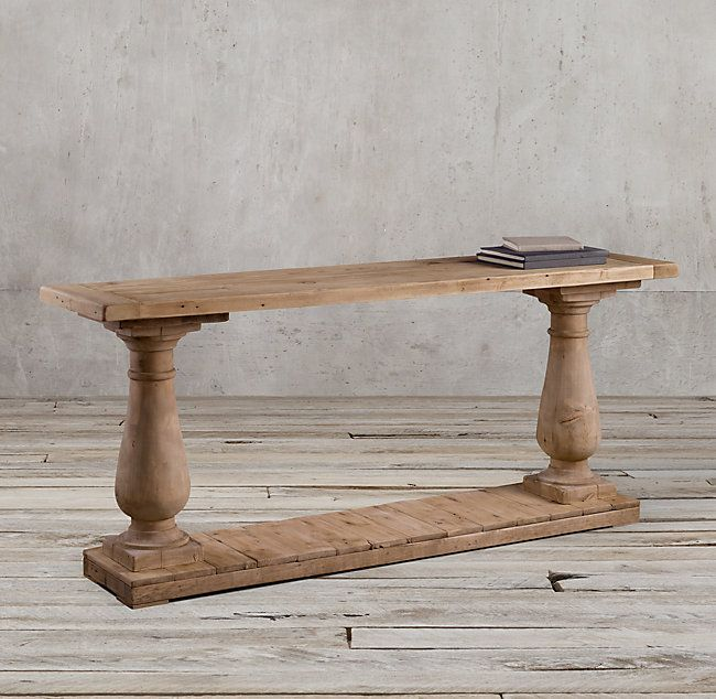 Rh S Balustrade Salvaged Wood Console Table Our Salvaged Wood Baluster Tables Designed By Timothy Oulton Are Han Wood Console Table Baluster Table Wood Console