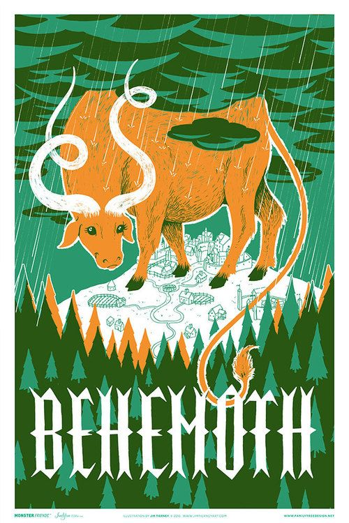 behemoth-flat. Familytree is a small creative studio based in Nashville, Tennessee, run by illustrator Alex Pearson. Their 'Monster Friends' series is a collection of posters illustrating monsters from ancient legends and folklore as adorable, not-so-scary creatures. Each retro-style poster is a two-color screen print that measures at 12″ x 18″, with glow-in-the-dark variants.