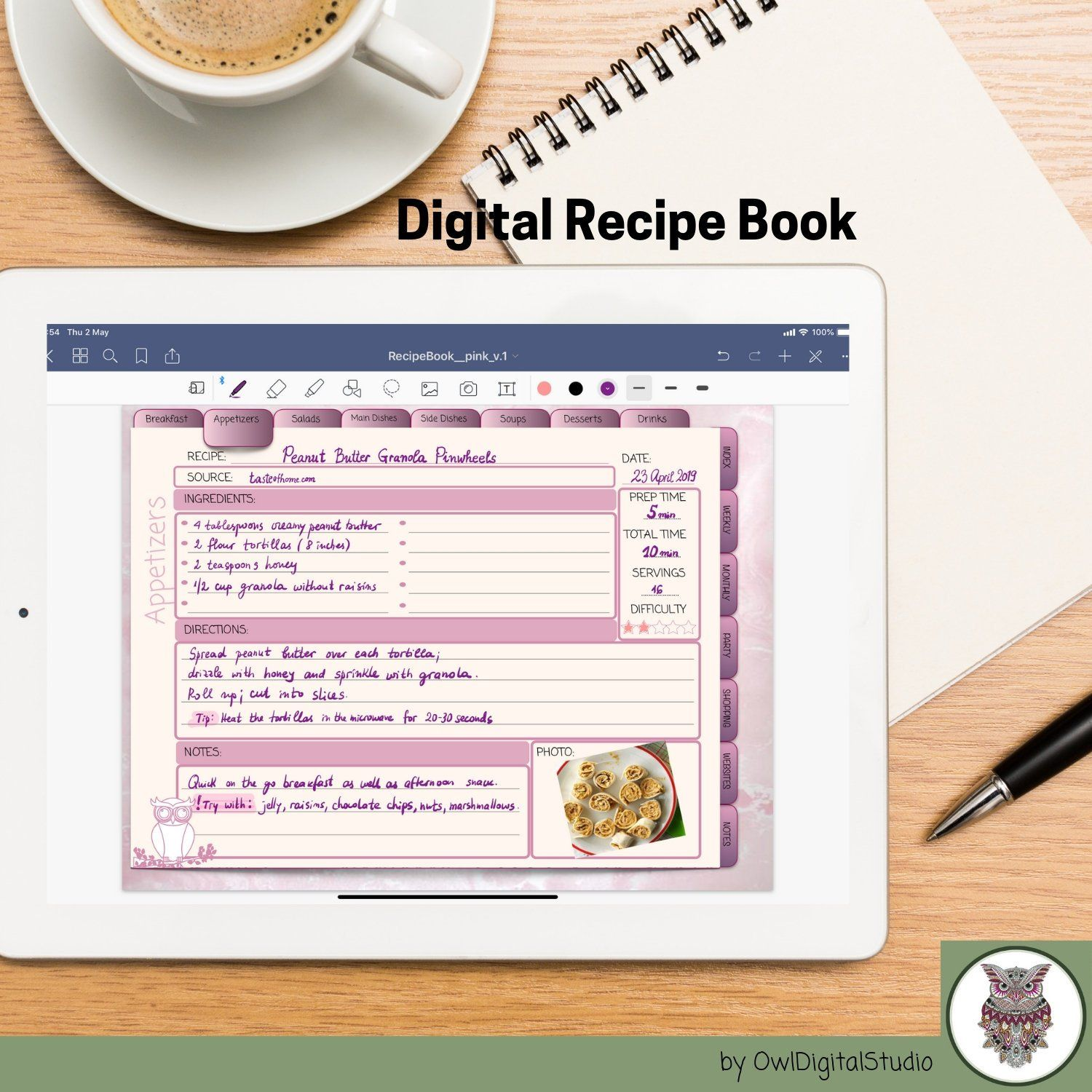 Excited To Share The Latest Addition To My Etsy Shop Digital Recipe Book Digital Recipes Cookbook For Goodnotes Digital Recipe Book Recipe Cards Recipe Book