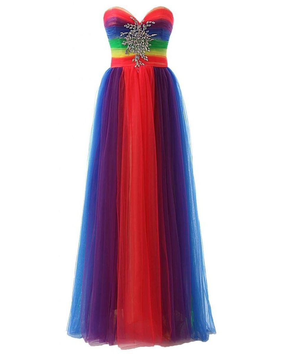 Colorful Rainbow Bridesmaid Dresses.