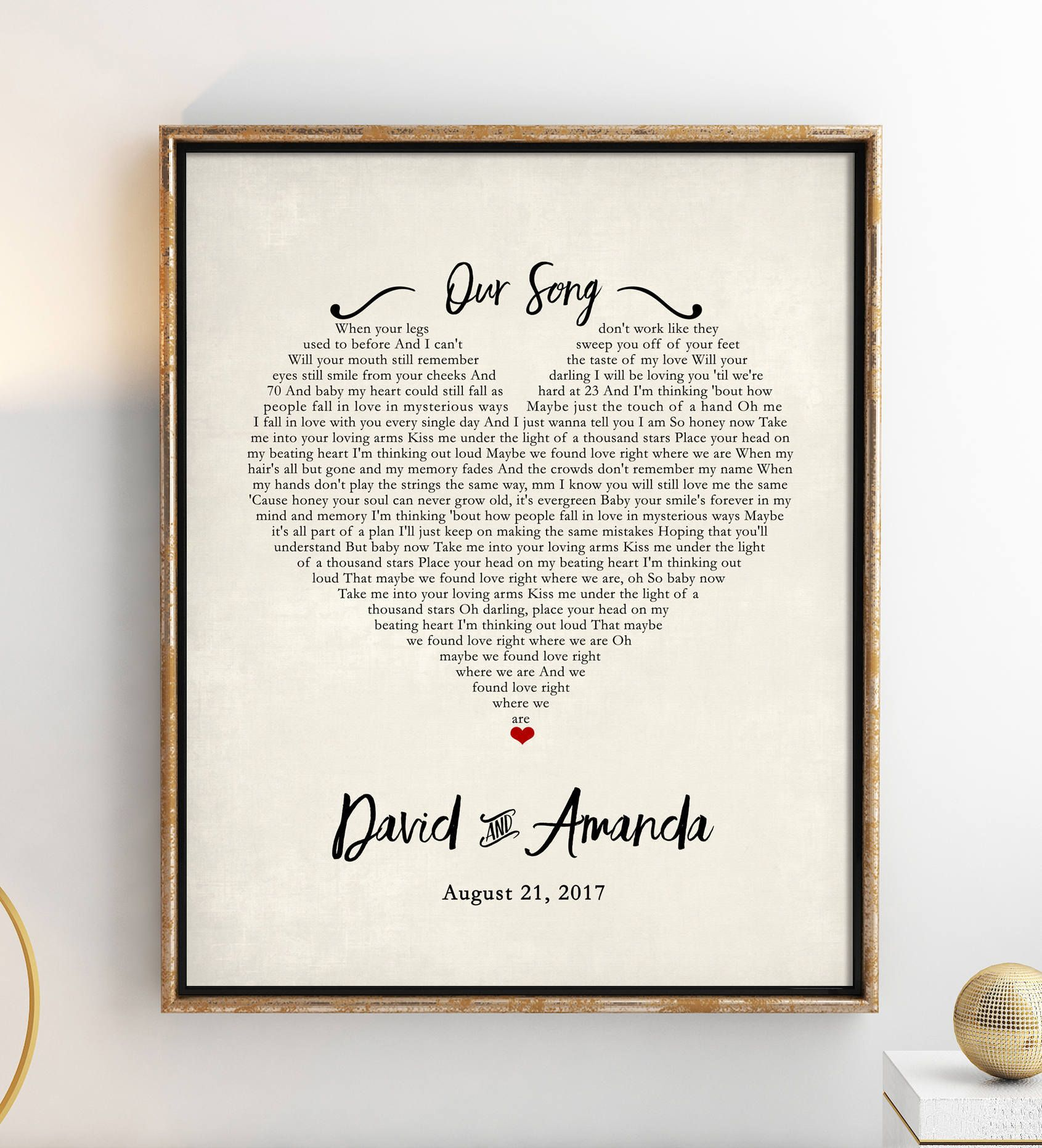 Wedding Song Lyric Art Unique Wedding Gift for Couple Valentines Day Gift for Him Song Lyrics Personalized Engagement Gift For Couple
