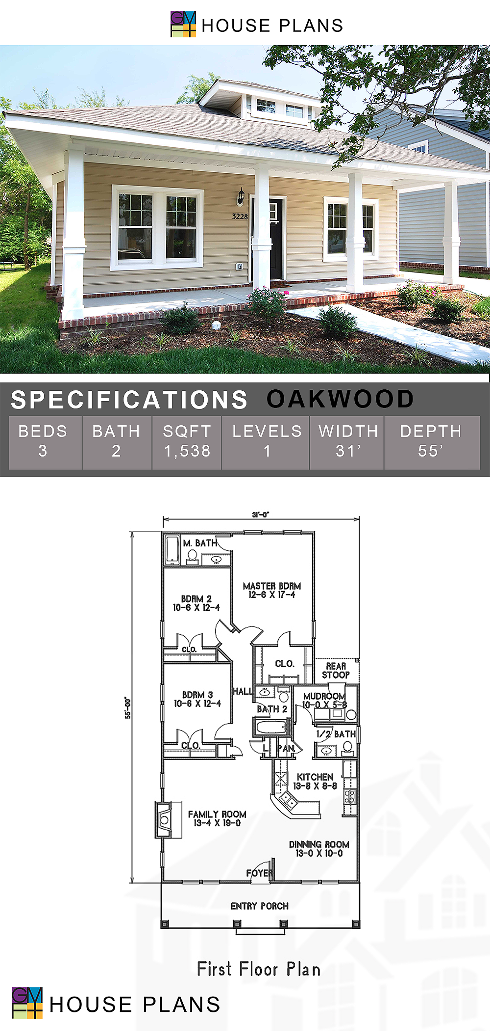 Oakwood Narrow Lot House Plans Single Story House Floor Plans House Plans