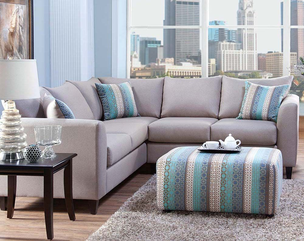 The Urban Safari Two Piece Sectional Sofa Will Lighten Up Your Entire  Living Space With Its Unique Gray Blue Upholstery Color And Multicolored  Pillows