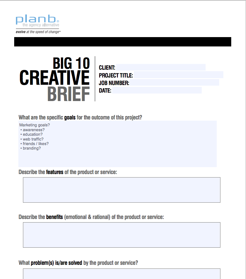 Plan B Creative Brief. Graphic design clients
