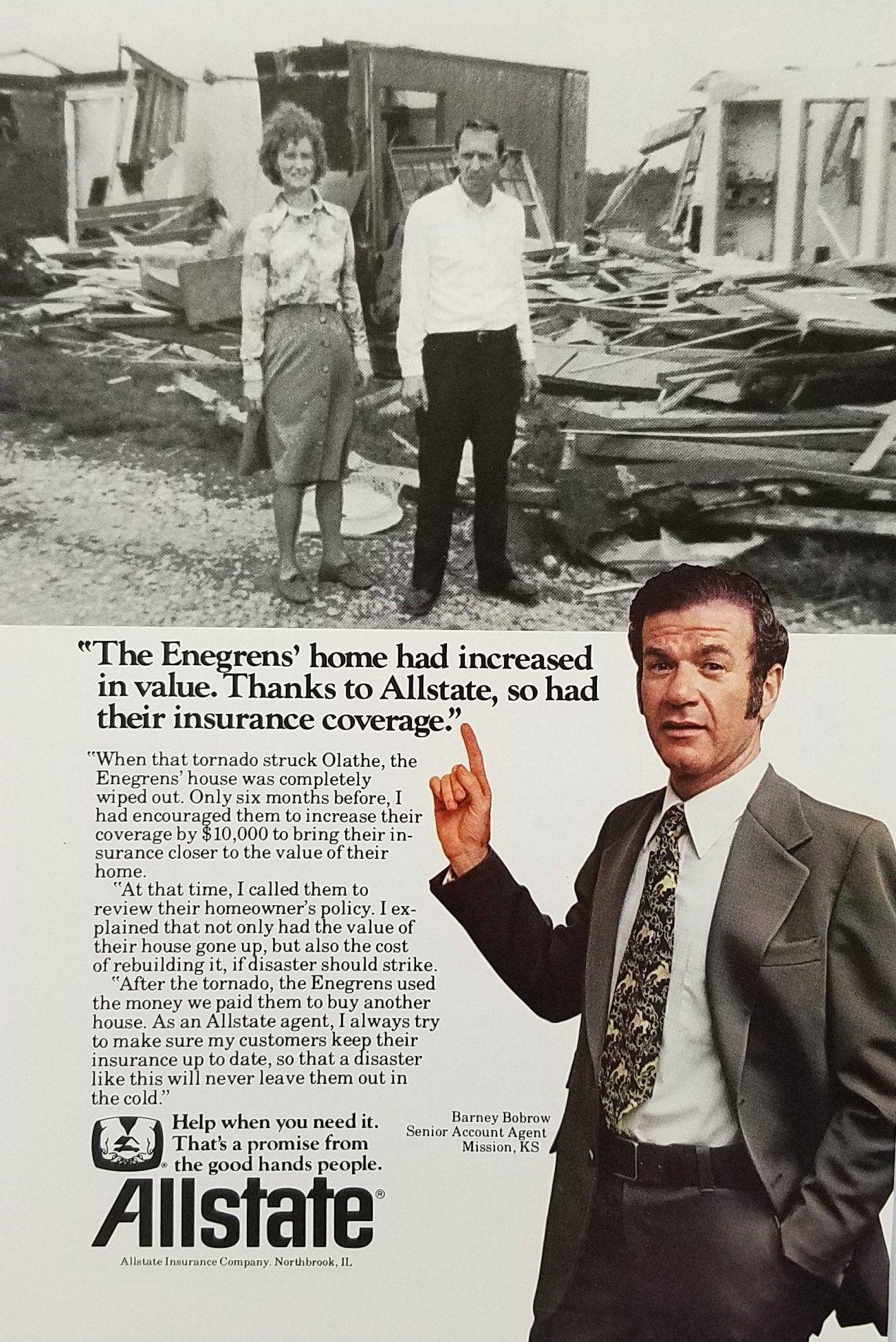1970 S Allstate Insurance Vintage Ad Tornado Home Destroyed