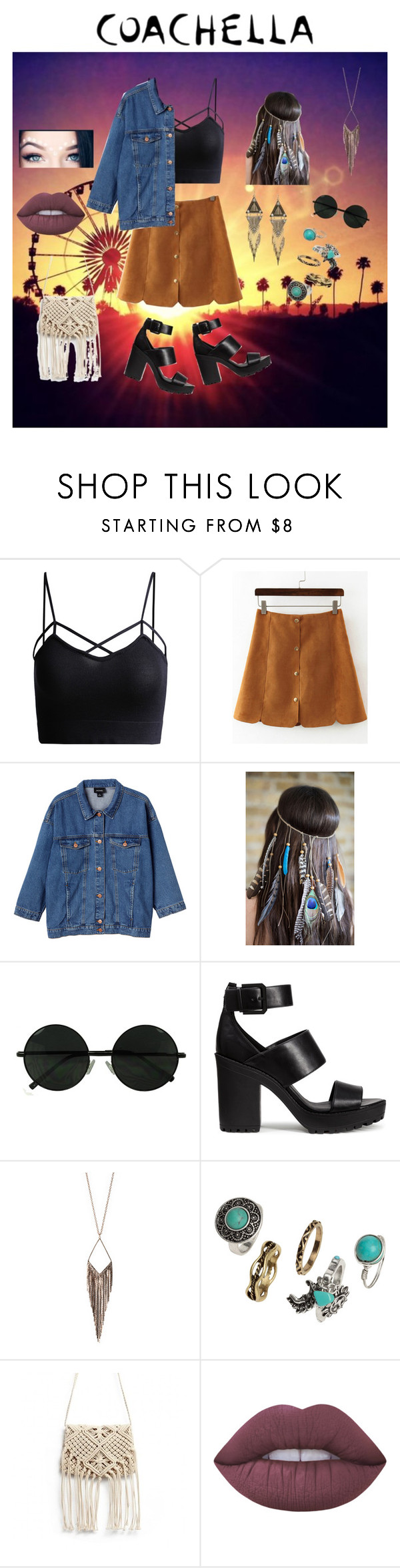 """Coachella 2016"" by unicornfashion5 ❤ liked on Polyvore featuring Monki, H&M, Jules Smith and Lime Crime"