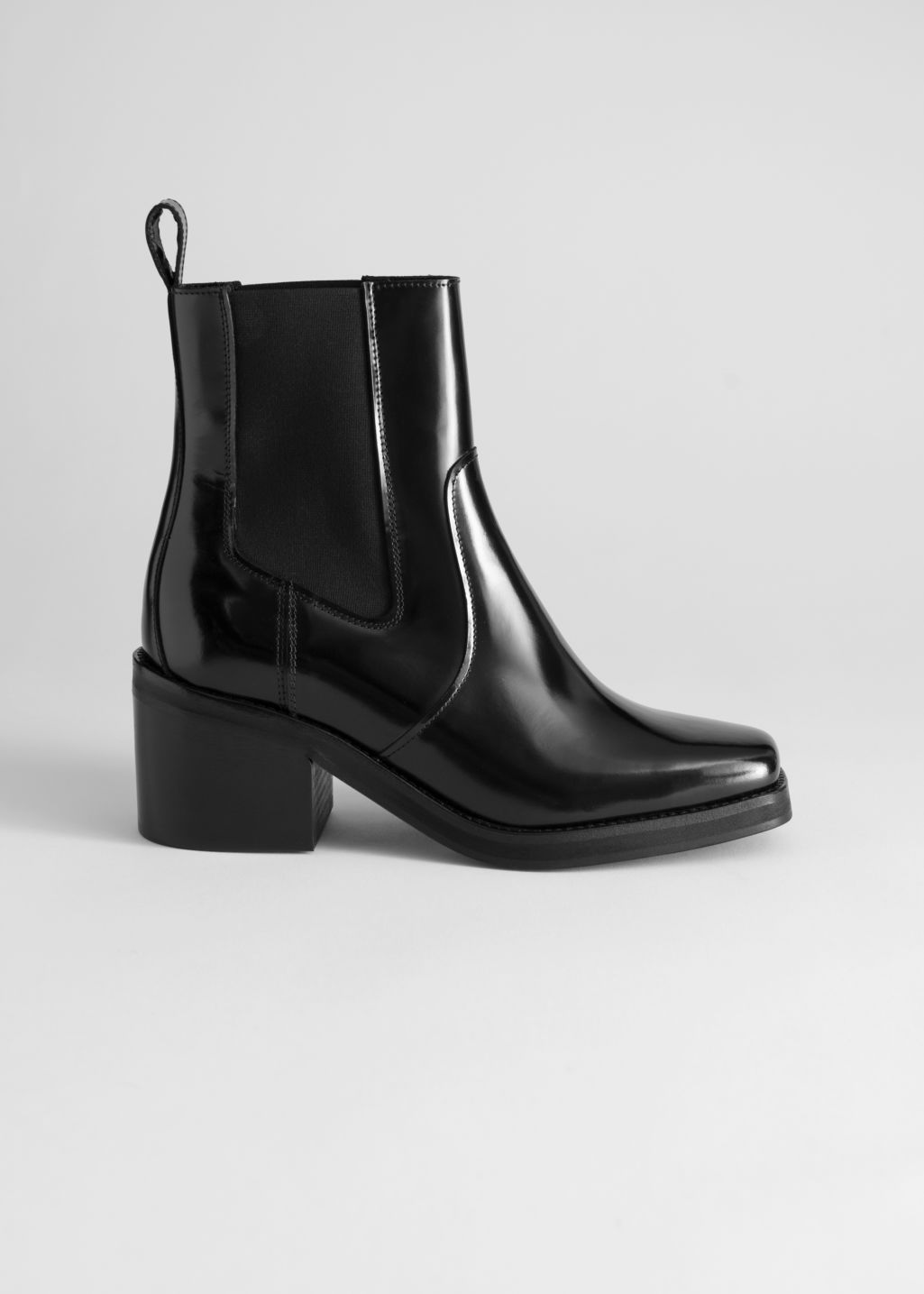 7db49712a92 Square Toe Leather Boots - Black - Ankleboots - & Other Stories ...