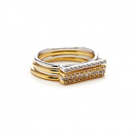 Women's Gold Silver Delicate Crystal Ring Set