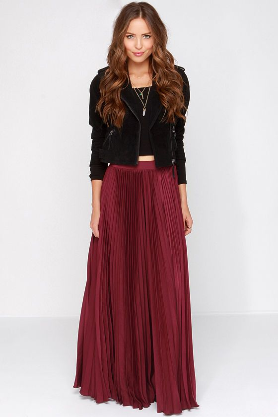 fbee5d3f6b908b Back in a Minute Burgundy Maxi Skirt at Lulus.com!