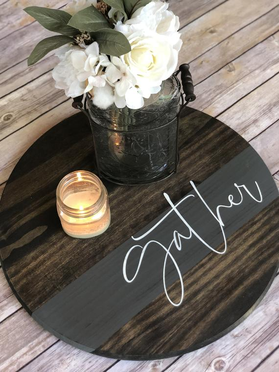 Photo of Gather Round Farmhouse Wood Sign | Living Room Decor | Wooden Tray | Wooden Sign | For the Home | For her | Wedding Decor