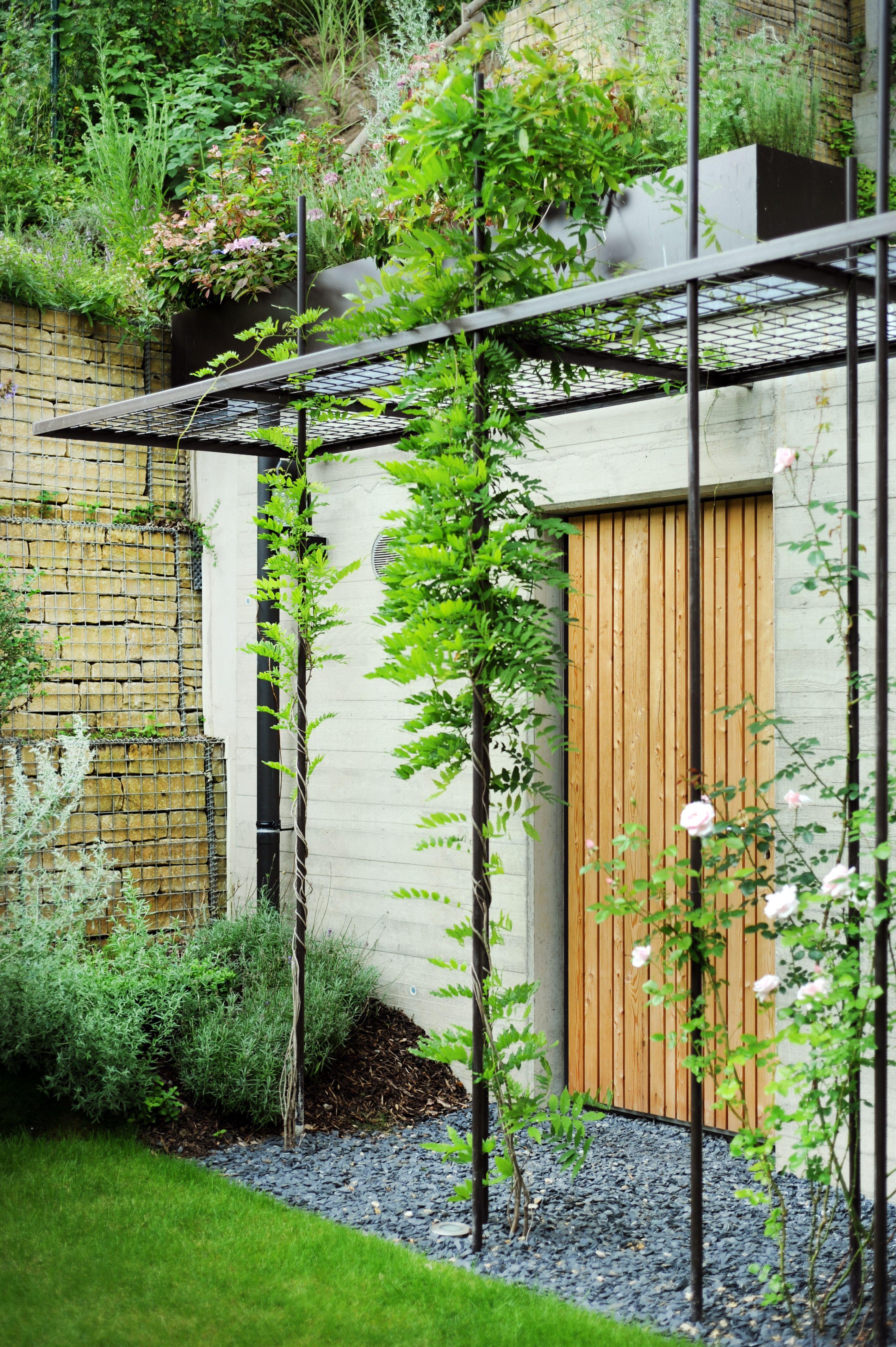 Jardin privé conception pergola acier et plantation vereal arch www moreno lu