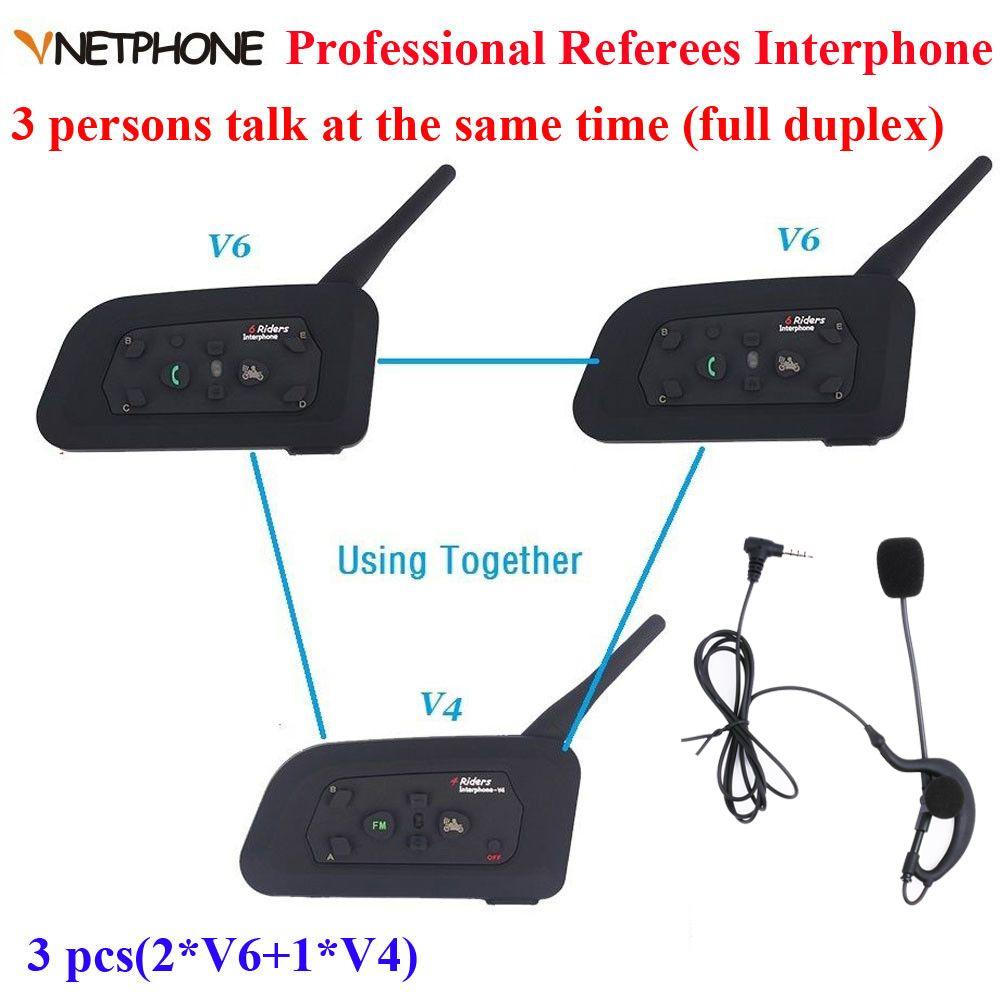 b9bd8bd1744 Vnetphone Brand 1200m full Duplex Communication Headset 3 Riders Talking For  Football Referee Judge Biker Wireless BT Intercom