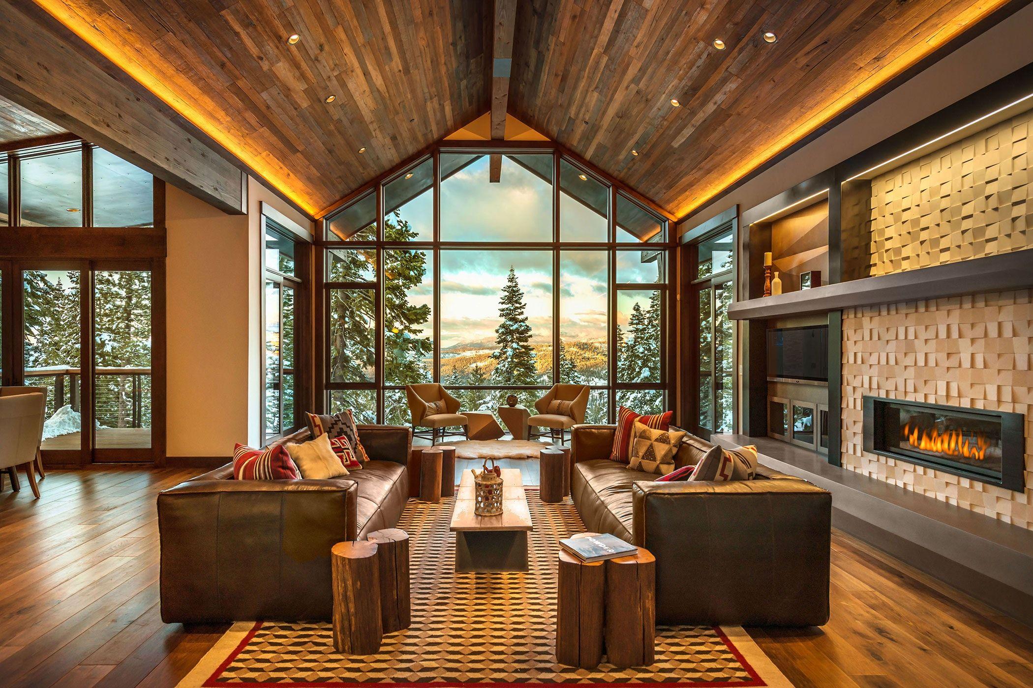 Rustic Contemporary Ski Lodge Martis Camp Lake Tahoe Fireplace