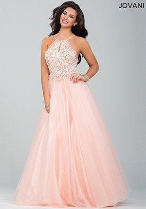 66685a7c86f Jovani Blush Sleeveless Tulle Ballgown Prom Dress 33850 t