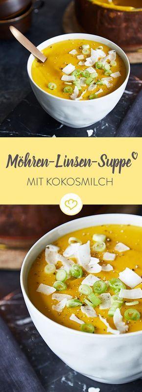Schnelle Möhren-Linsen-Suppe mit Kokosmilch