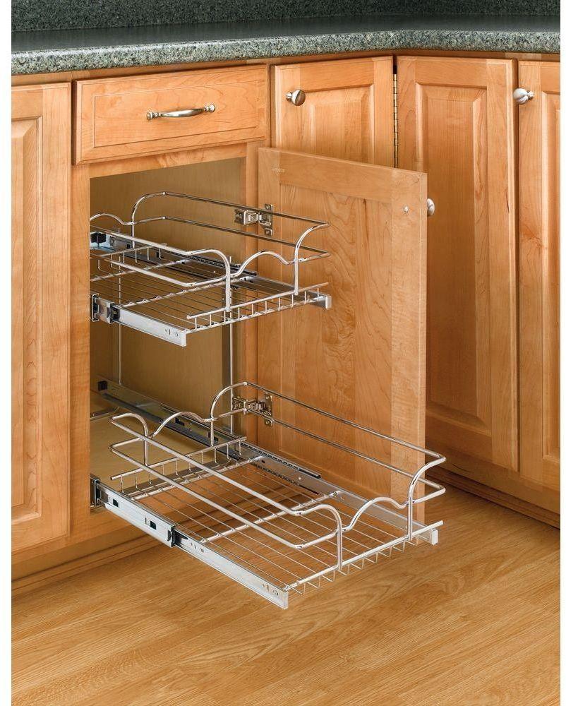 Kitchen Storage Organizer Rev A Shelf Pull Out Wire Basket Base Cabinet Chrome Revashelf Rev A Shelf Kitchen Cabinet Storage Shelves