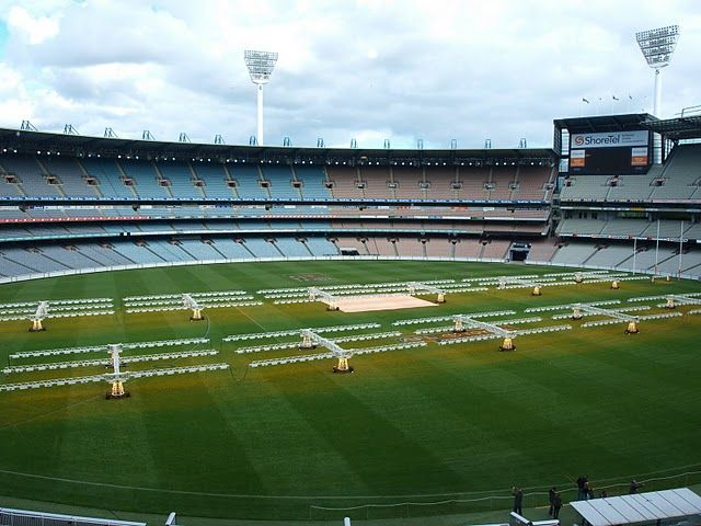 The Heat Lamps On The Mcg Allowing The Turf To Grow In Winter Months Home Reno Heat Lamps Winter Months