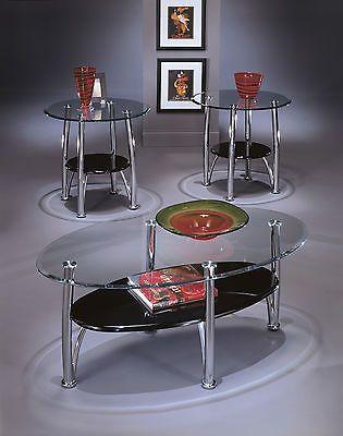 Harper Glass Coffee Table Set Contemporary Black Chrome Color Modern Living Room 3 Piece Coffee Table Set Coffee Table Furniture