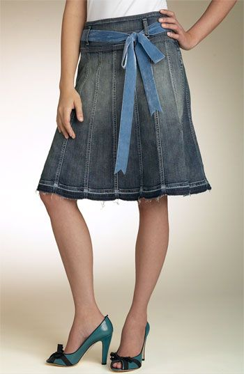 7 For All Mankind® Gored Stretch Denim Skirt | Nordstrom | roupas ...