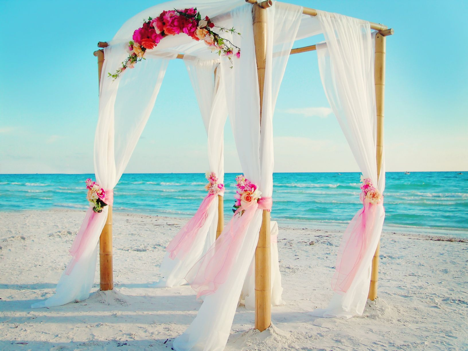 Beach Wedding In Florida S West Coast Complete Package Including Bamboo Arbor Chairs Photographer Officiant And Musician