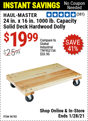 Haul Master 24 In X 16 In 1000 Lbs Capacity Solid Deck Hardwood Dolly For 19 99 In 2021 Harbor Freight Tools Harbor Freight Coupon Deck