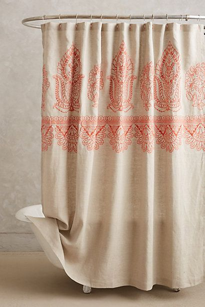 Embroidered Linen Shower Curtain House Home Sale
