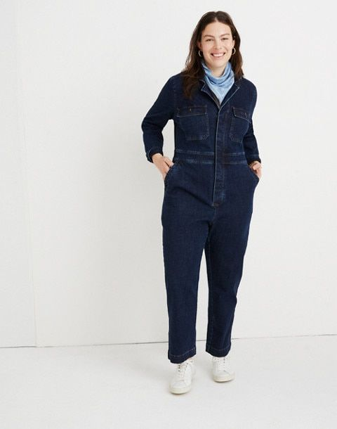 37a808adeb83 Denim Slim Coverall Jumpsuit in fanning wash image 1