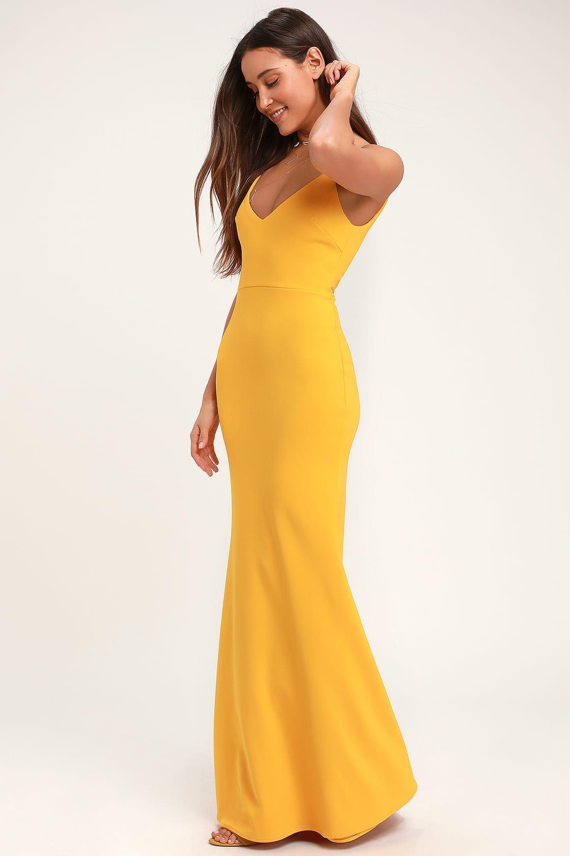 Infinite Glory Golden Yellow Maxi Dress in