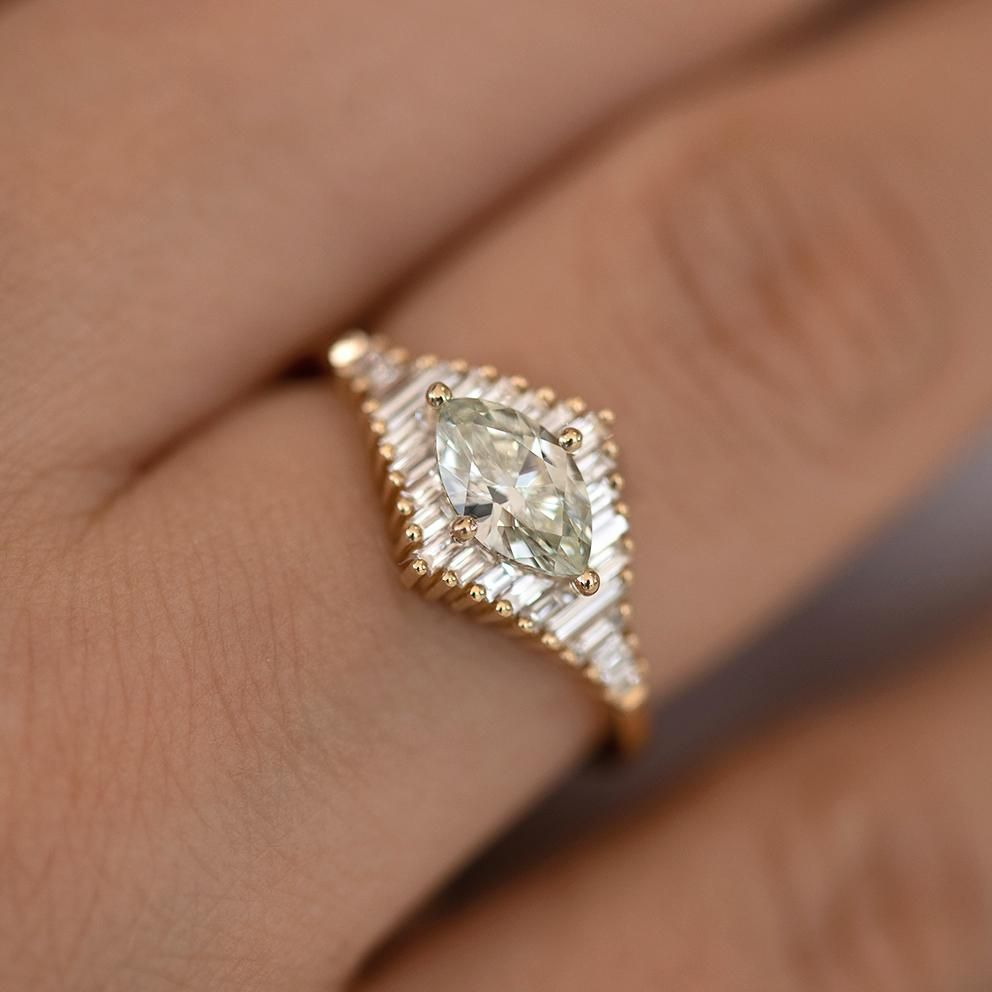 Photo of Green Diamond Engagement Ring with Baguette Diamonds – Fancy Color Diamond Ring