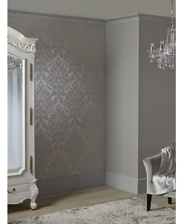 The Glittery World Of Silver Bedroom Ideas: A Beautiful Damask Patterned Wallpaper Features Glitter