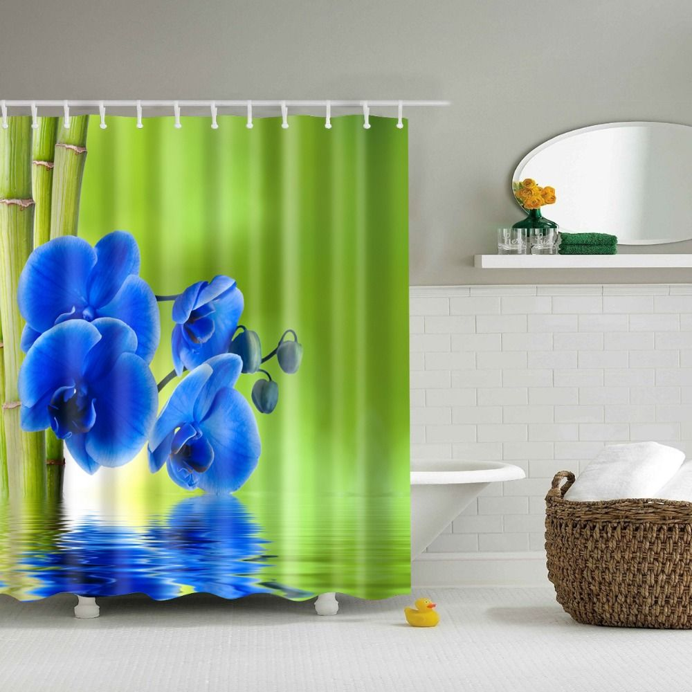 Bamboo Shower Curtain 2017 New Design Waterproof Blue Flower