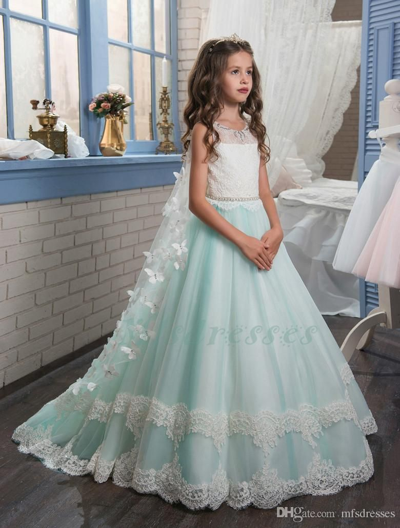 2017 New Princess Puffy Ball Gown Pageant Dresses for Little Girls Glitz  Double Lace Hem Long Kids Puffy Prom Dresses with Butterfly Cape Flower Girl  ... 50171cb9386a