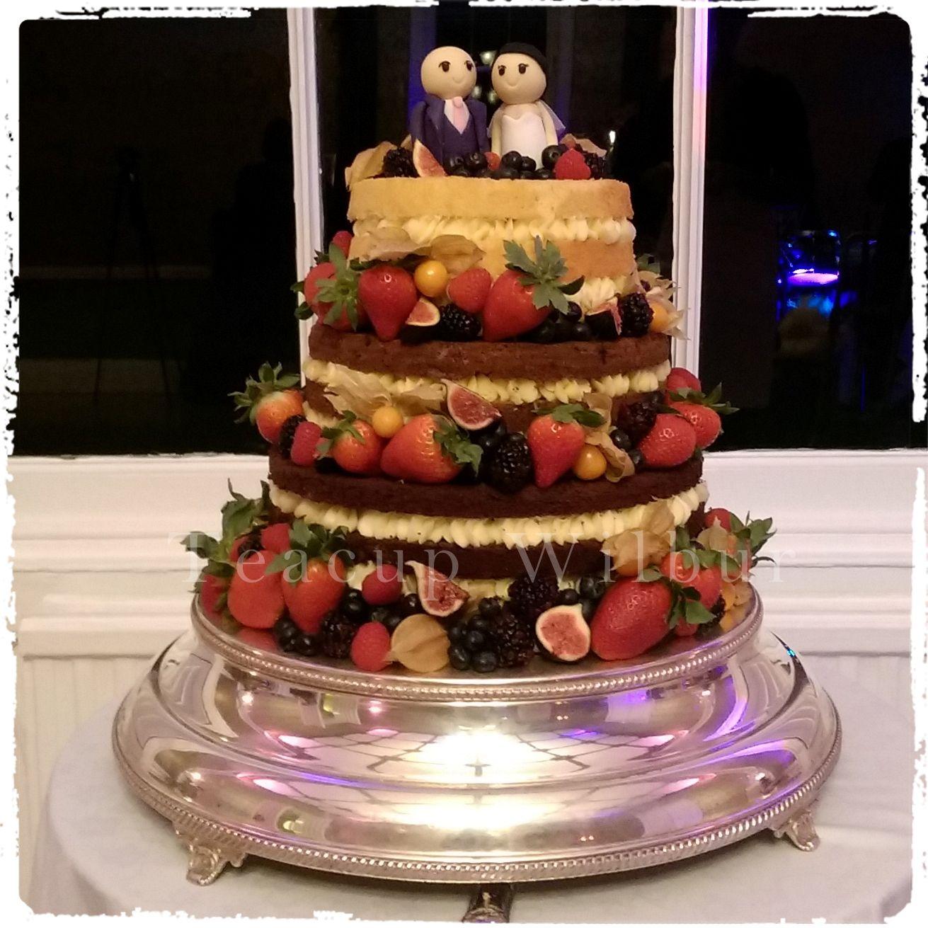 Three Tiers Naked Wedding Cake With Fresh Fruits Top Tier Lemon Sponge Cake With
